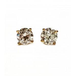 Diamond stud earrings set 4 prong yellow gold 2=35pts. t.w.