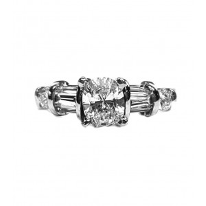 Baguette diamond engagement ring Oval Center 1.01cts. t.w.
