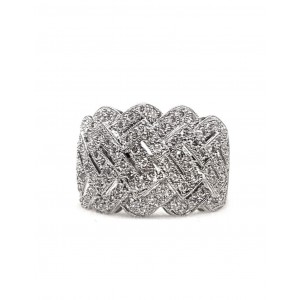 18kt Pave Diamond Ring 1.02cts t.w. in White Gold