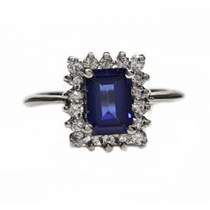 Emerald Cut sapphire & diamond cluster ring, 48pts dia's. t.w.