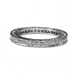 Diamond Eternity Wedding Band With Design on Sides, 25pts. in 14kt White Gold
