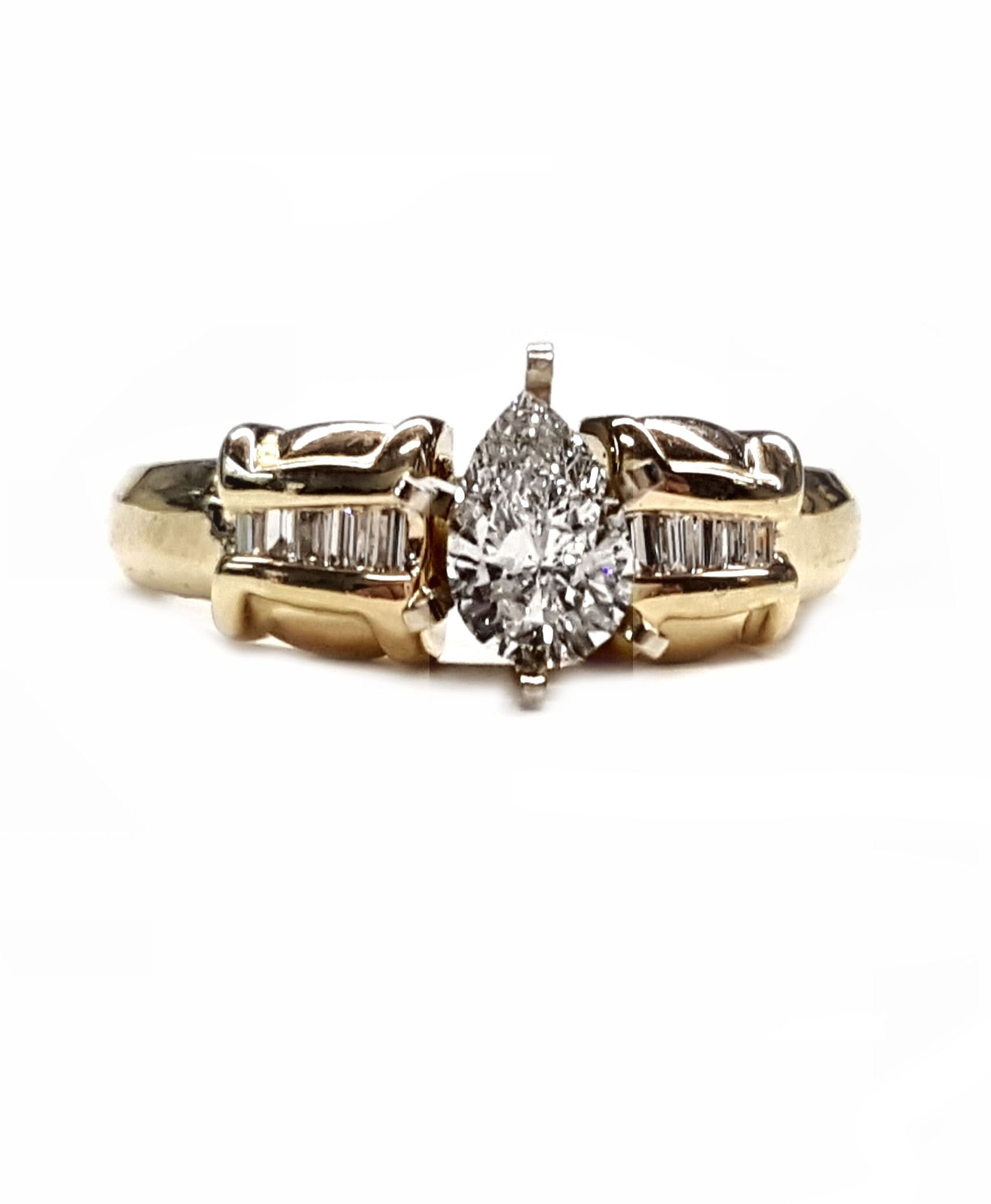 91pt. Pear Shape Diamond Engagement Ring w/ Baguette Dia. Ring