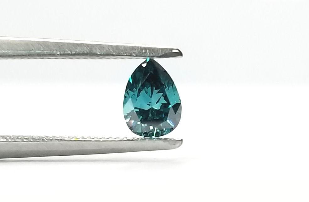 Pear Shaped Blue Diamond 1/3ct. Brilliant Look