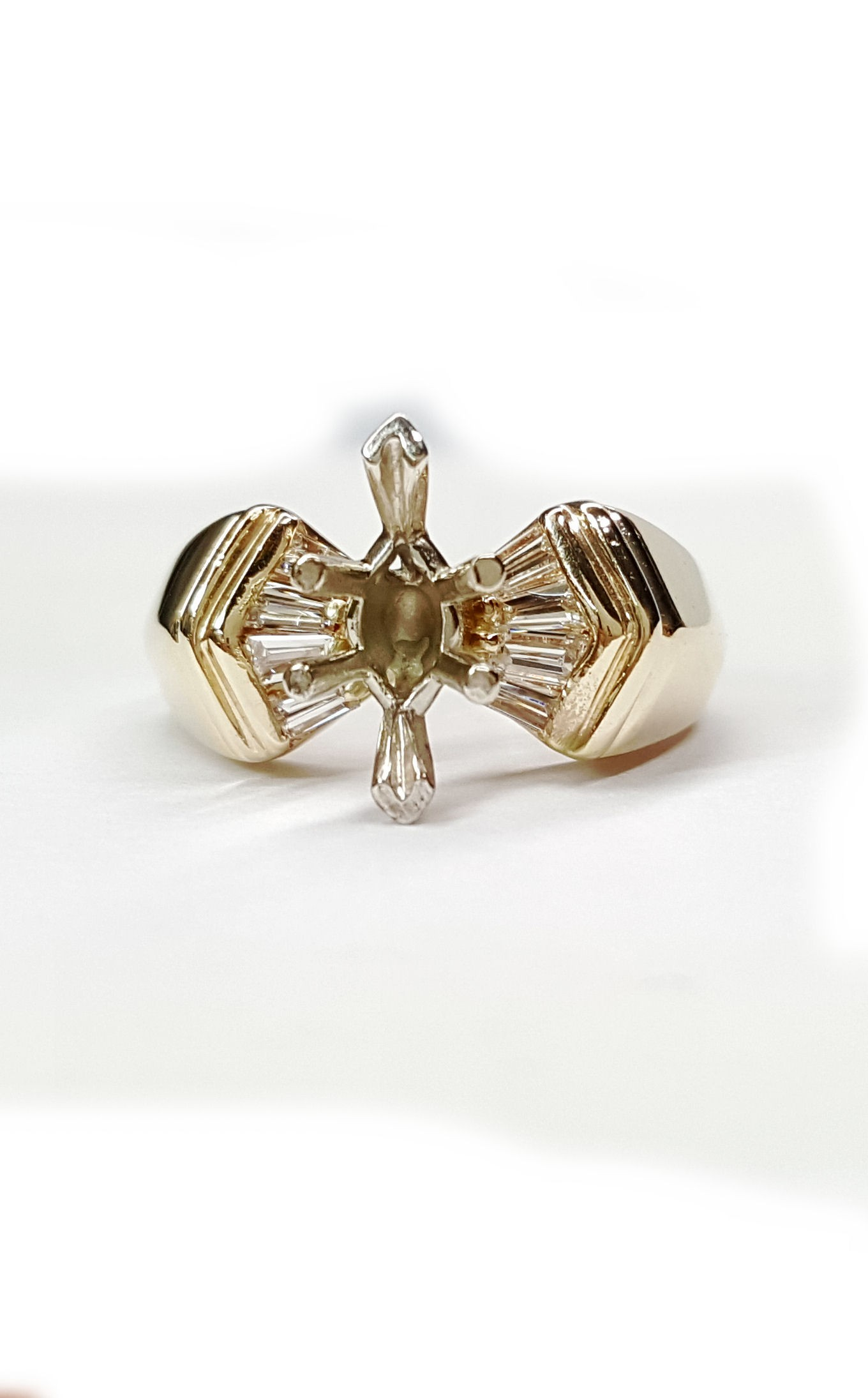 Diamond baguette engagement ring mounting,50pts. t.w.