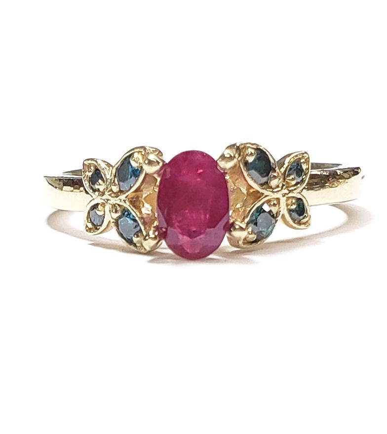 Butterfly Diamond Engagement Ring w/ Ruby Center in 14kt. Yellow Gold