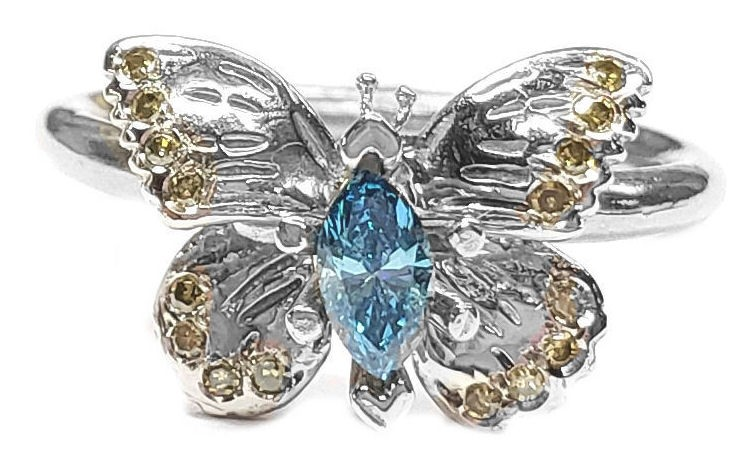 Butterfly Engagement Ring with Yellow & Blue Diamonds, in White Gold