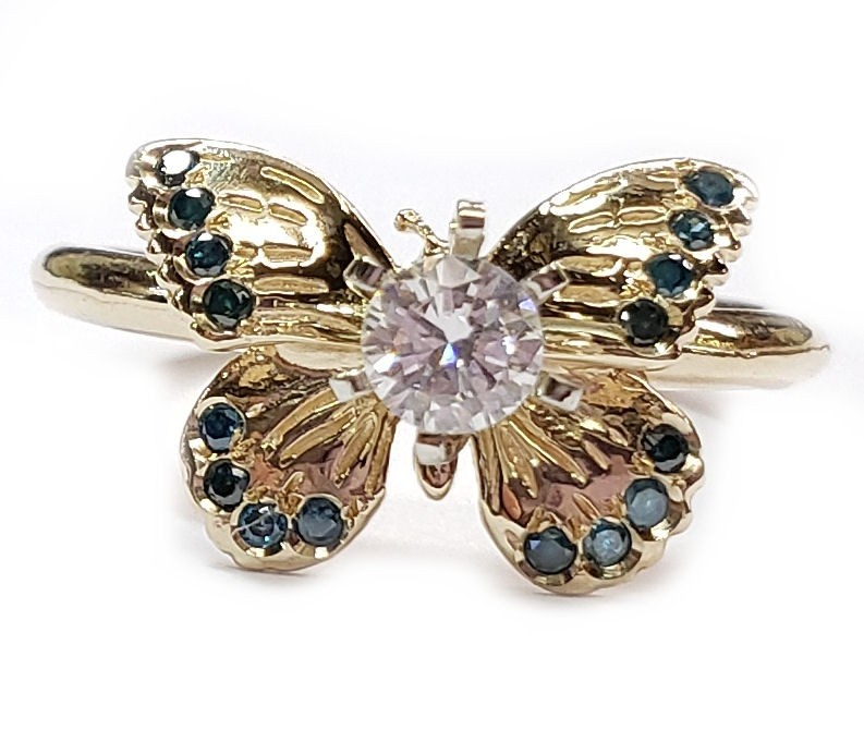 Diamond Butterfly Engagement Ring in 14kt Yel. Gold White or Blue Center