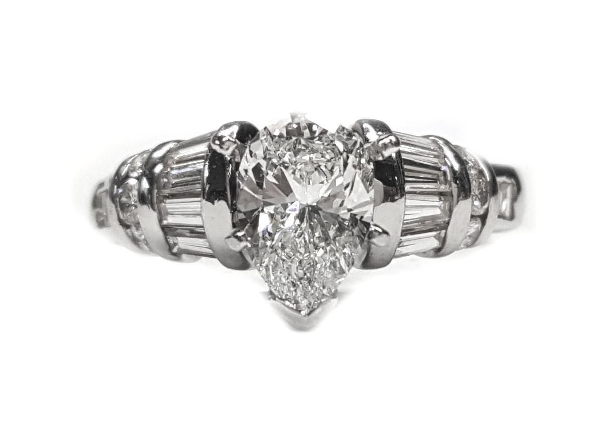 Pear Shape Diamond Engagement Ring 1.58cts. t.w.