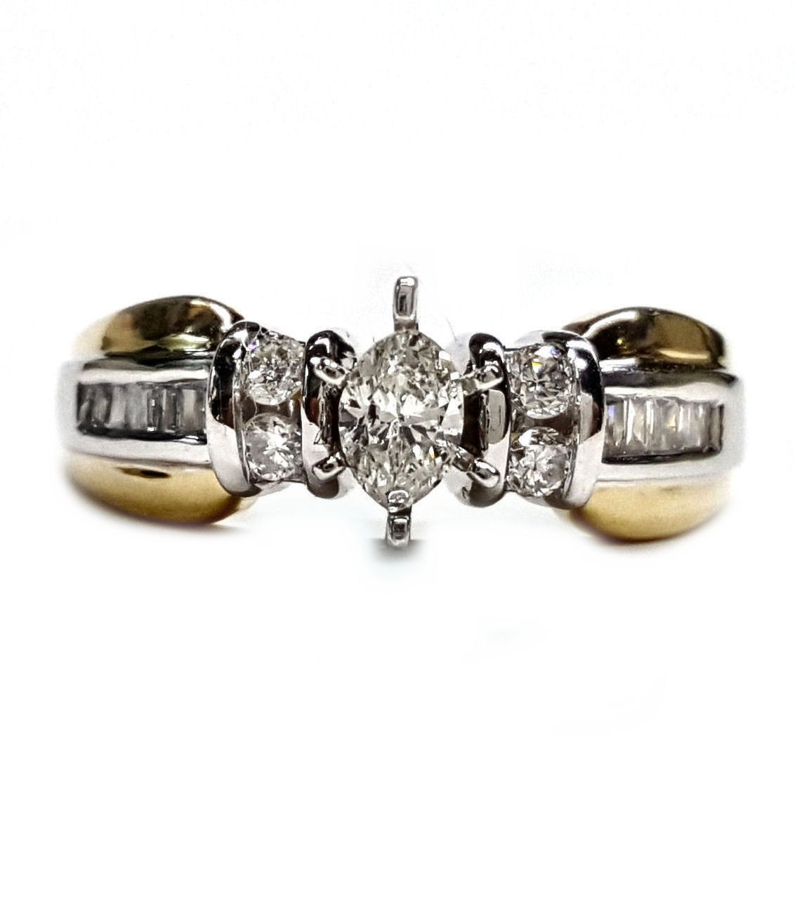 Baguette & Round diamond engagement ring mounting 32pts.t.w.