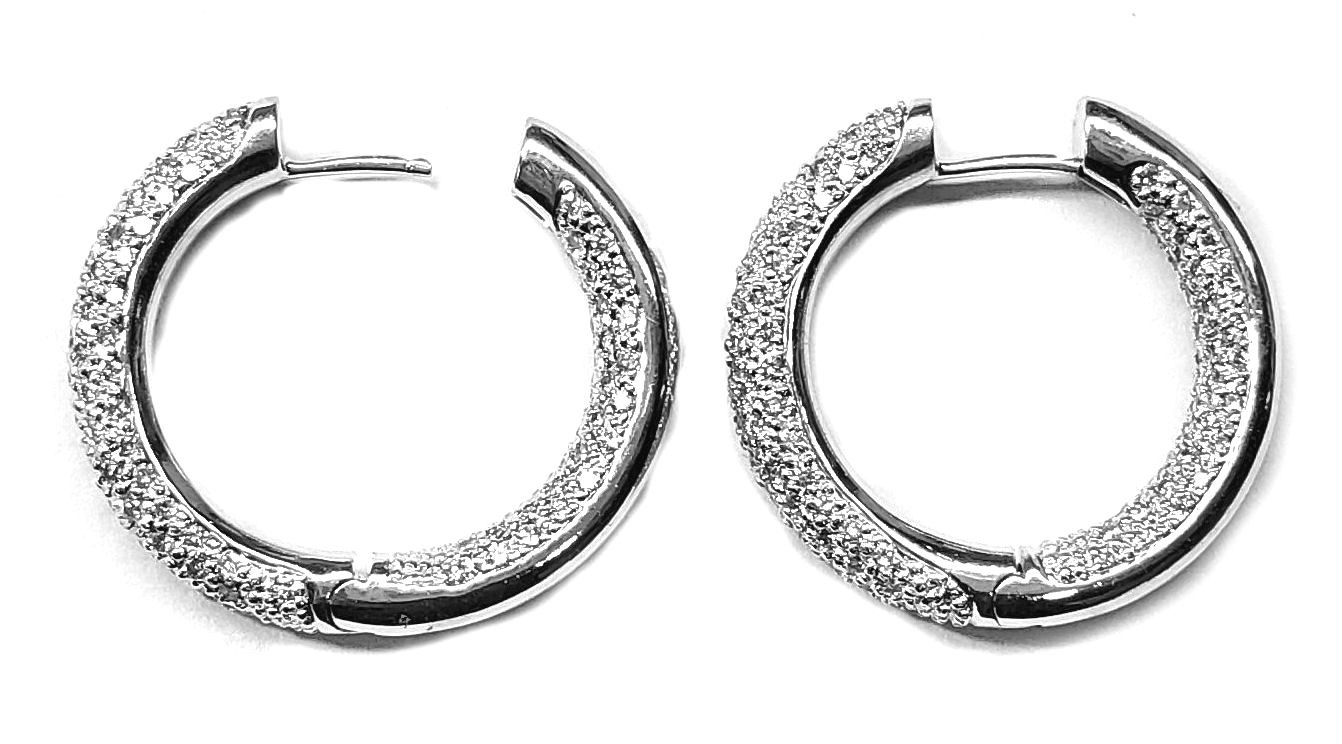 Diamond Hoop Earrings 1.79cts. Inside/Outside Pave Set in 18kt Gold