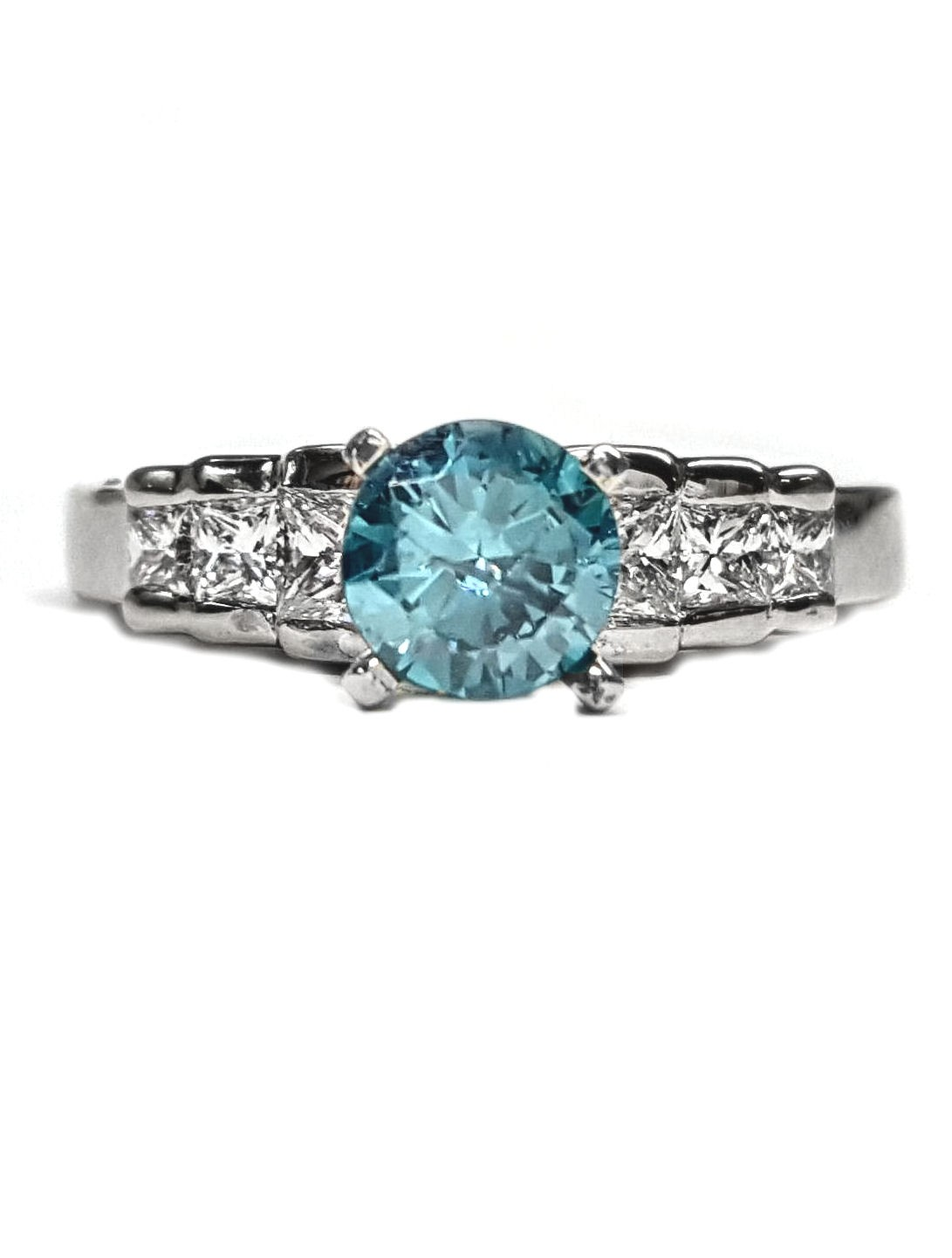 Diamond Princess Cut Engagement Ring,14kt, with  Blue Topaz Center