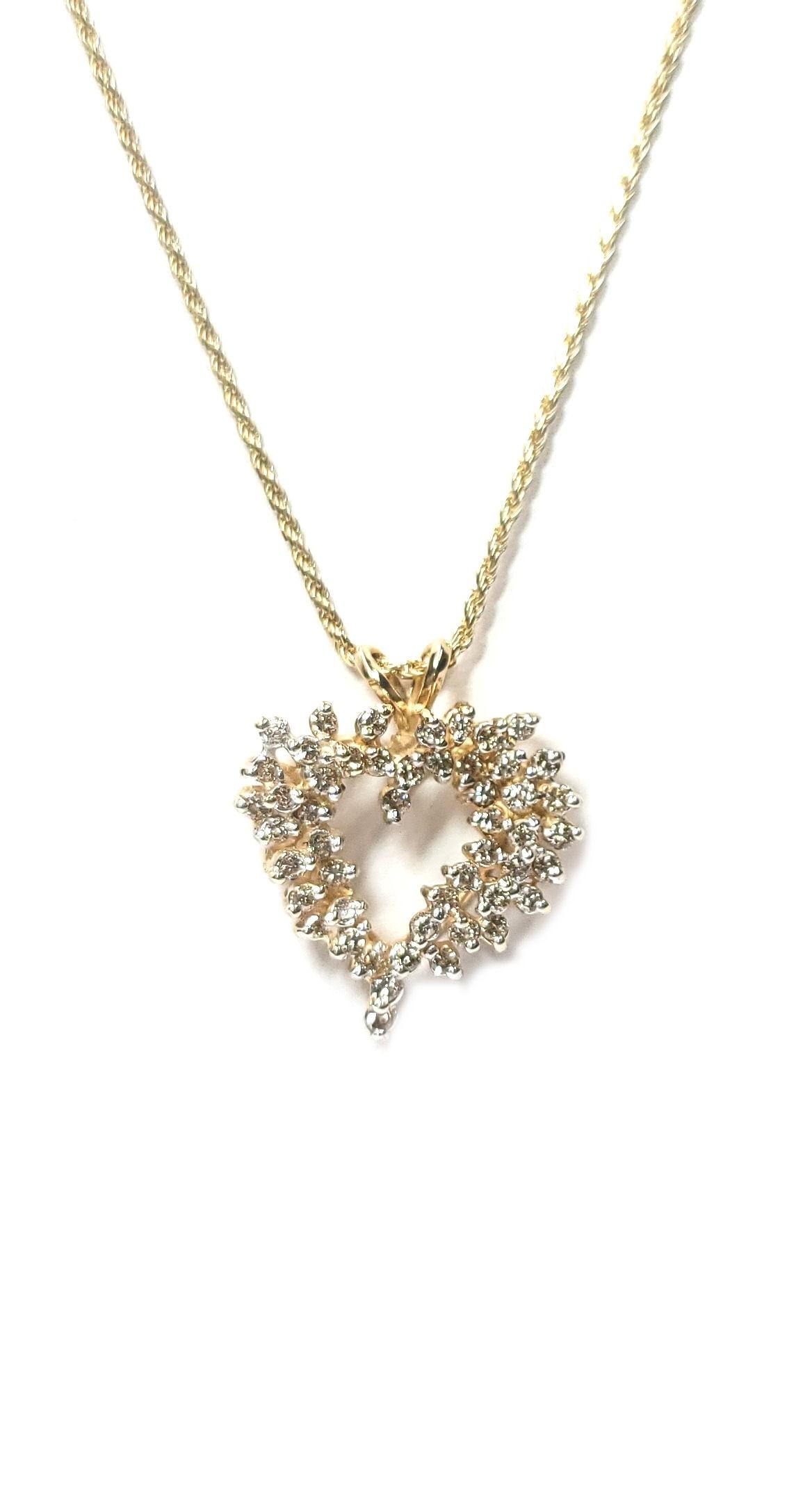 Diamond Heart Pendant Freeform Design 1ct, in 14kt Gold