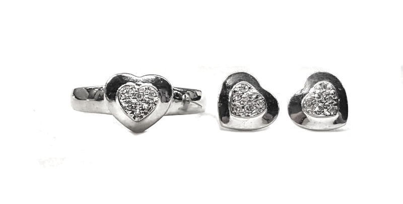 Diamond Heart Earrings w/ Matching Ring 30pts. t.w.