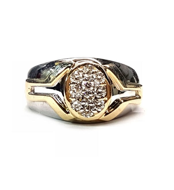 Mens 2tone diamond Cluster ring, 30pts. t.w.