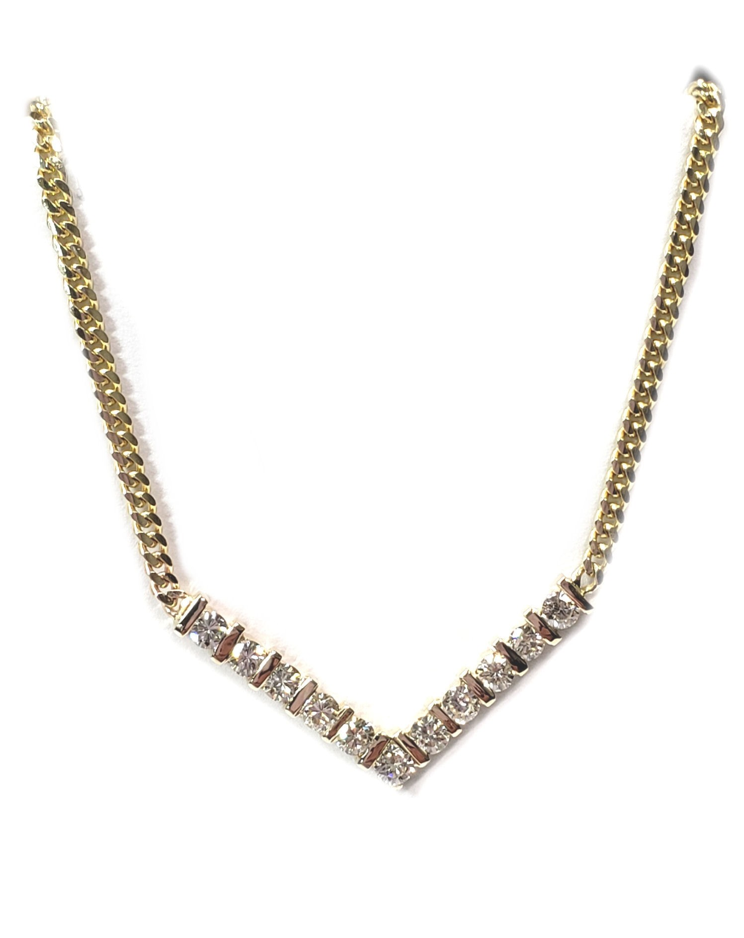 """Diamond """"V"""" Chanel Set Necklace 1.54cts. in 14kt Gold"""