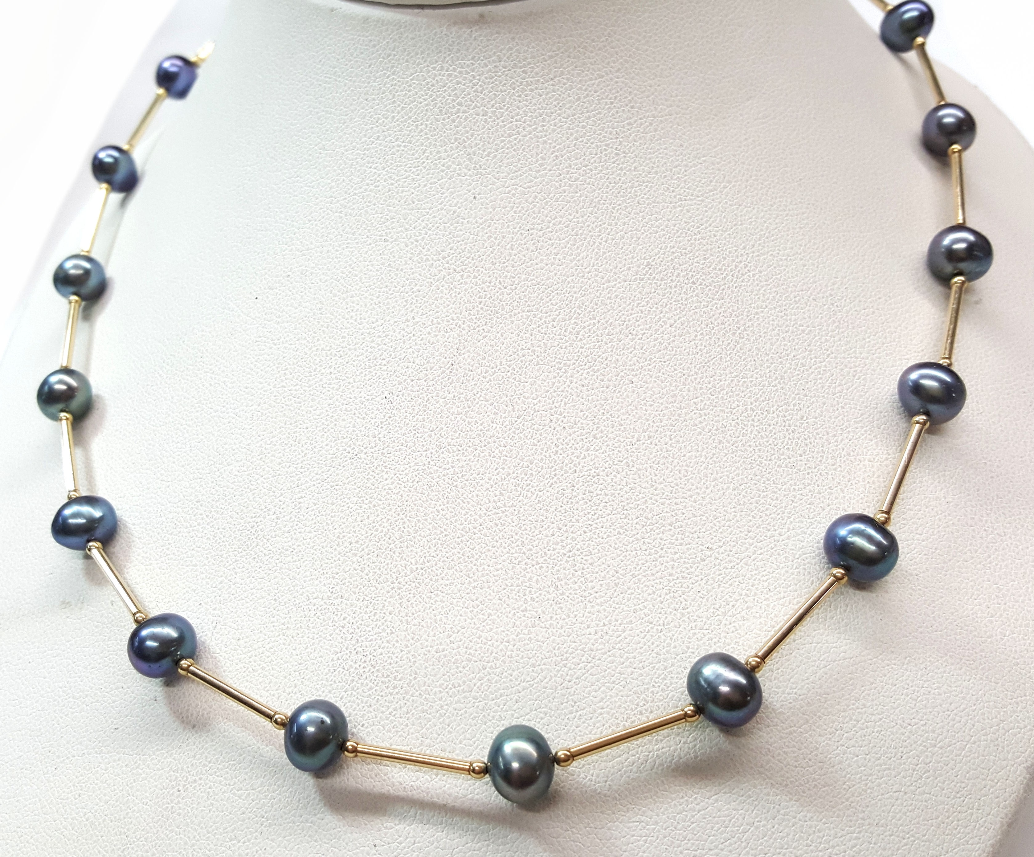 Black Pearl Necklace with 14kt Gold Spacers 18""