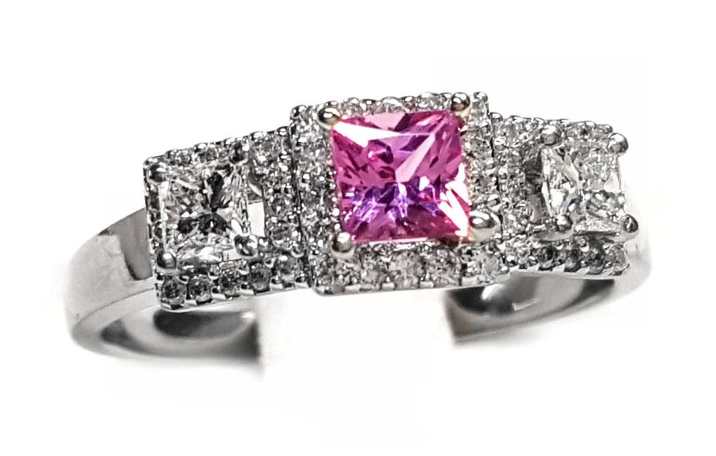 Pink Sapphire & Diamond 3 Section Ring, 85pts t,w, Diamond