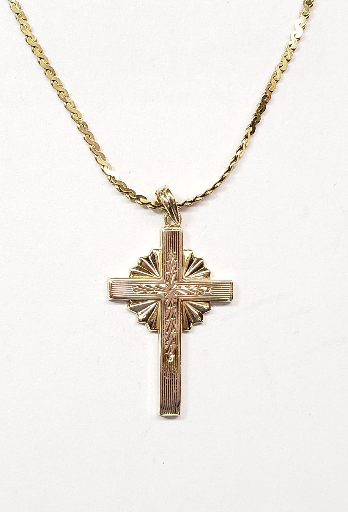 "Gold Cross Pendant with ""Sun"" landscape scene, in 14kt Gold"