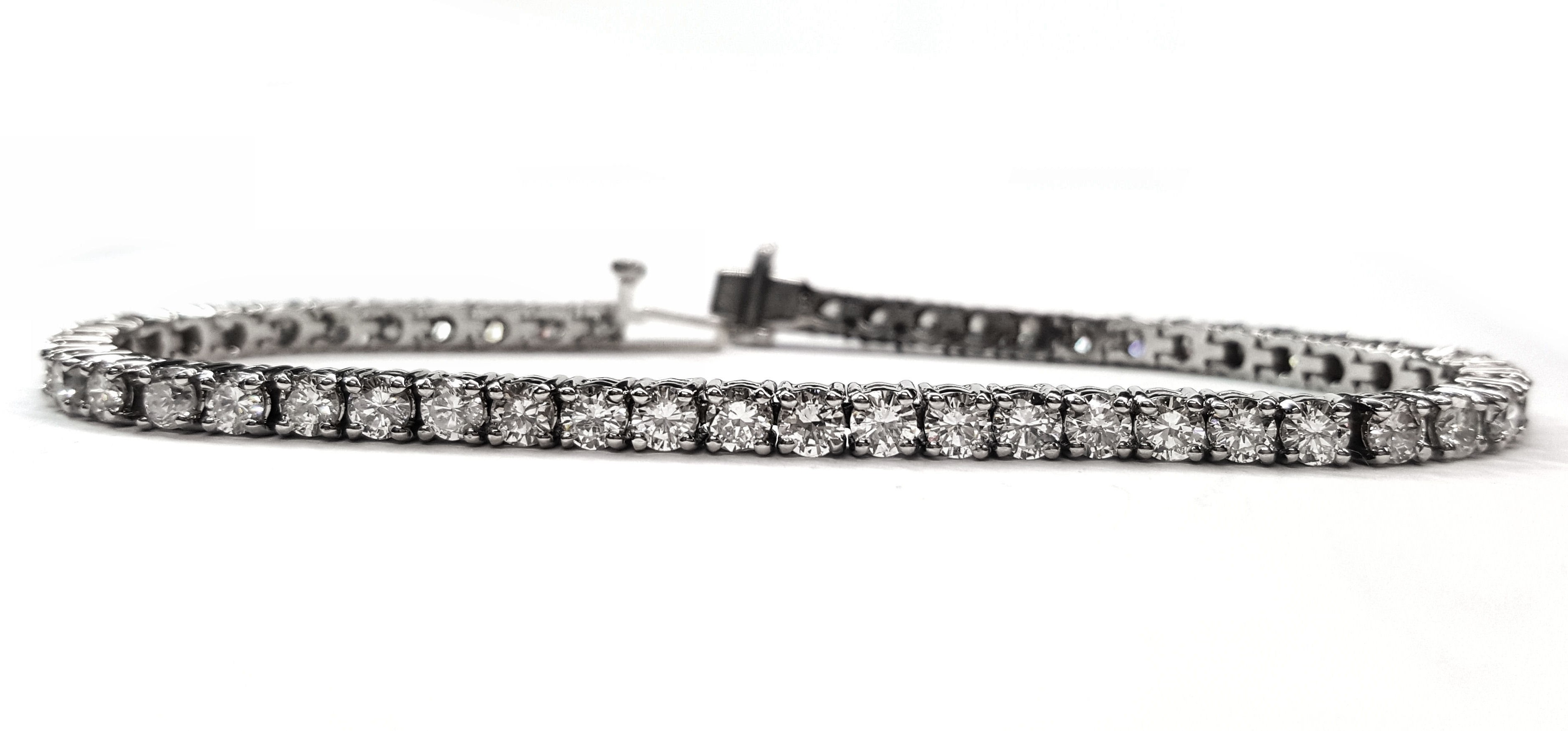 Diamond tennis bracelet 6.24cts. 4 prong White Gold Setting