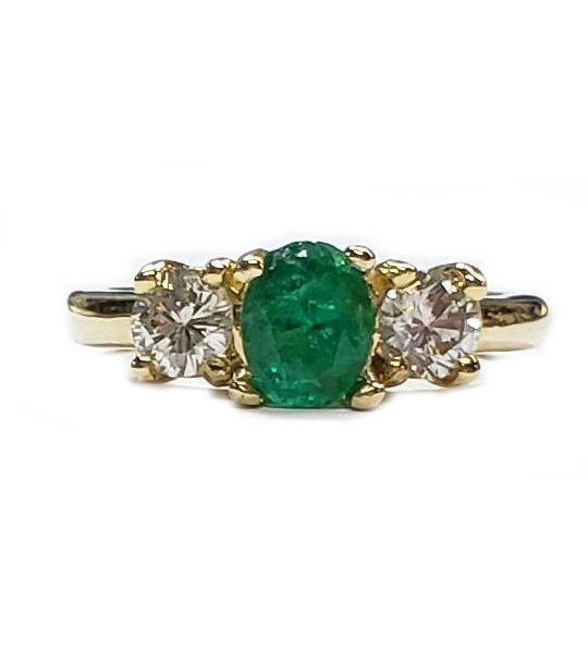 Emerald & Diamond 3 Stone Ring in 18kt. Gold