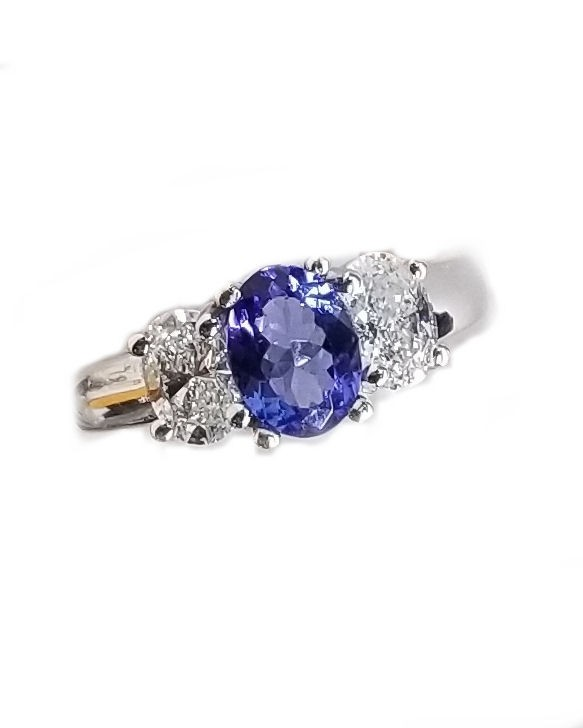 3 Stone Tanzanite & Diamond Oval Ring in White Gold