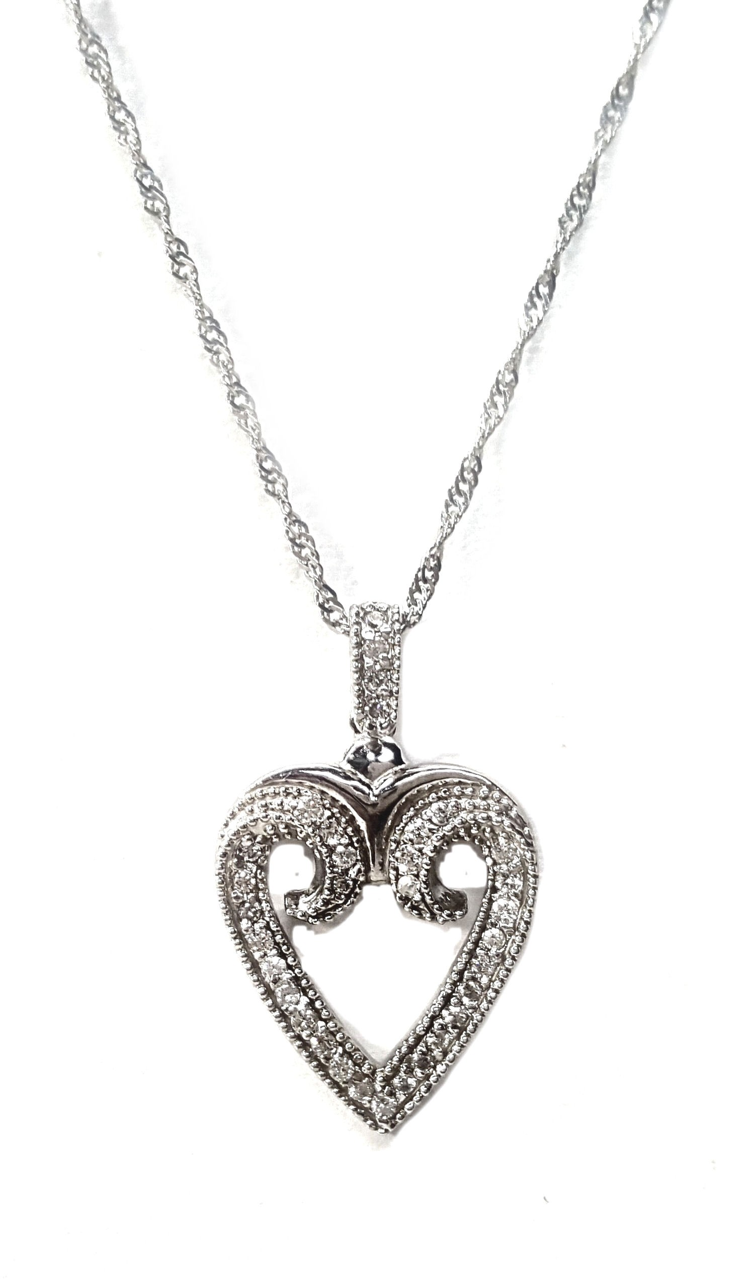 Diamond Open Heart Necklace in 14kt White Gold,33pts. t.w.