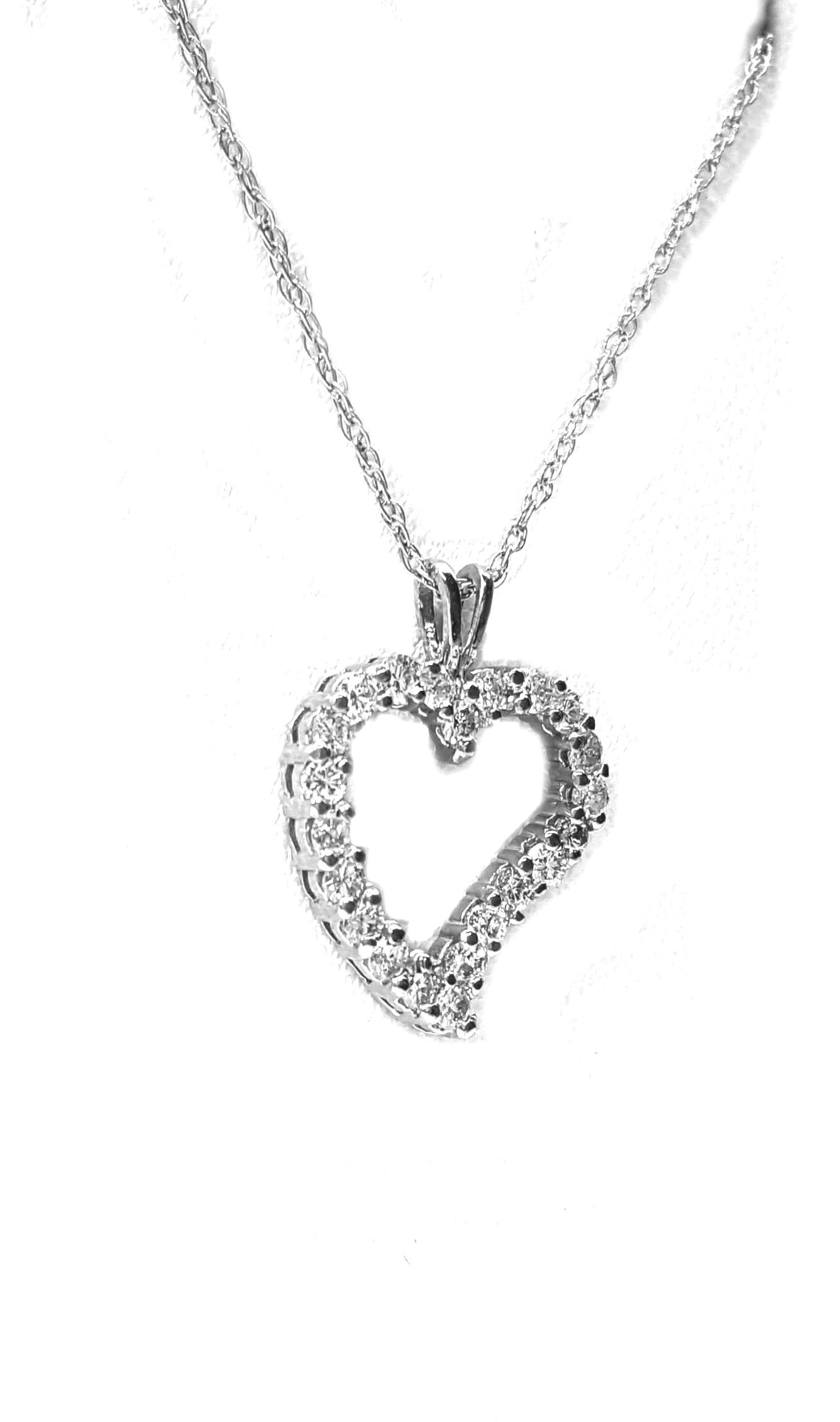 Heart Pendant in 14kt. white gold 78pts. diamonds.