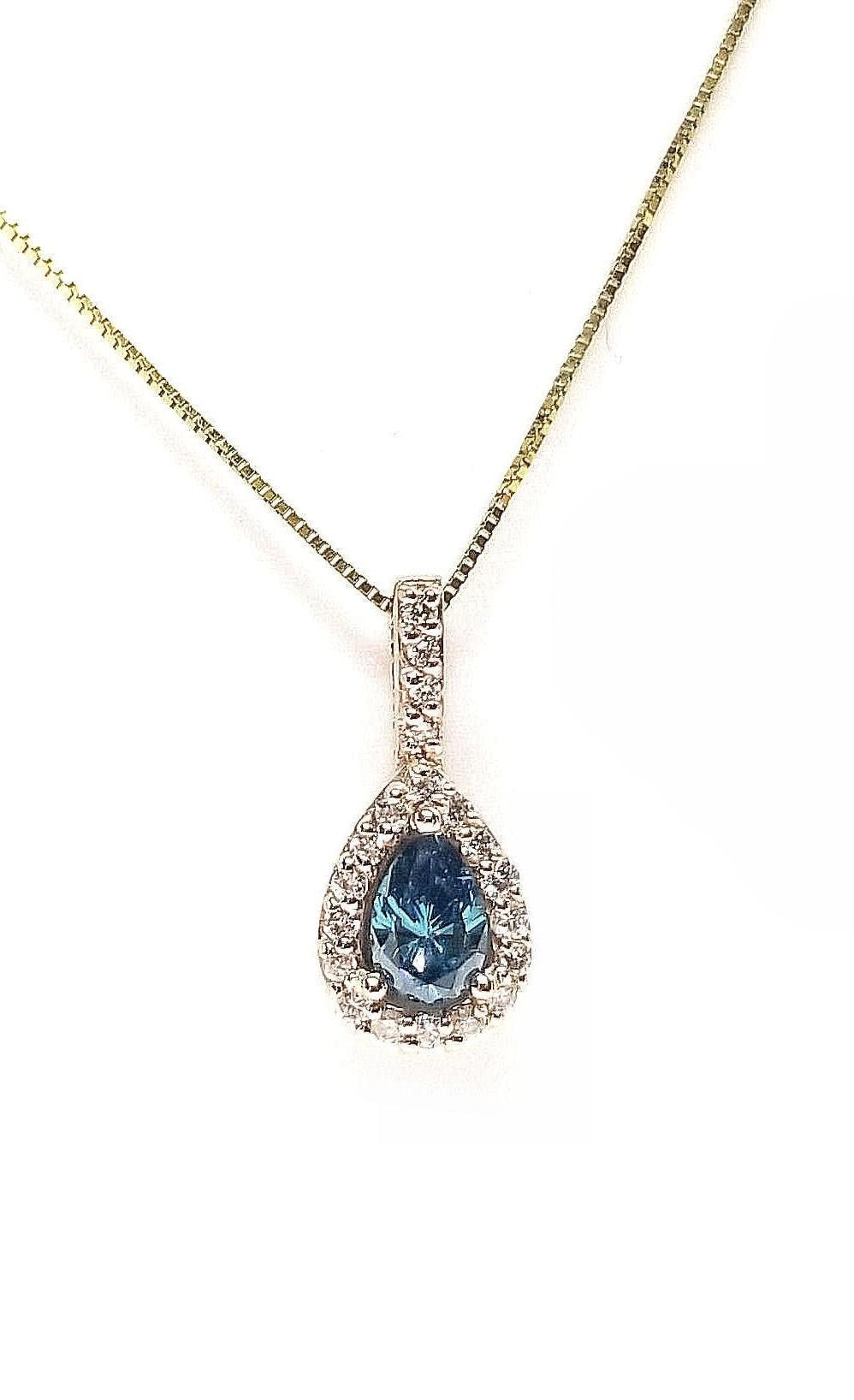 Diamond Pendant 68pts., Blue Pear Shape Center, Set in 14kt Rose Gold