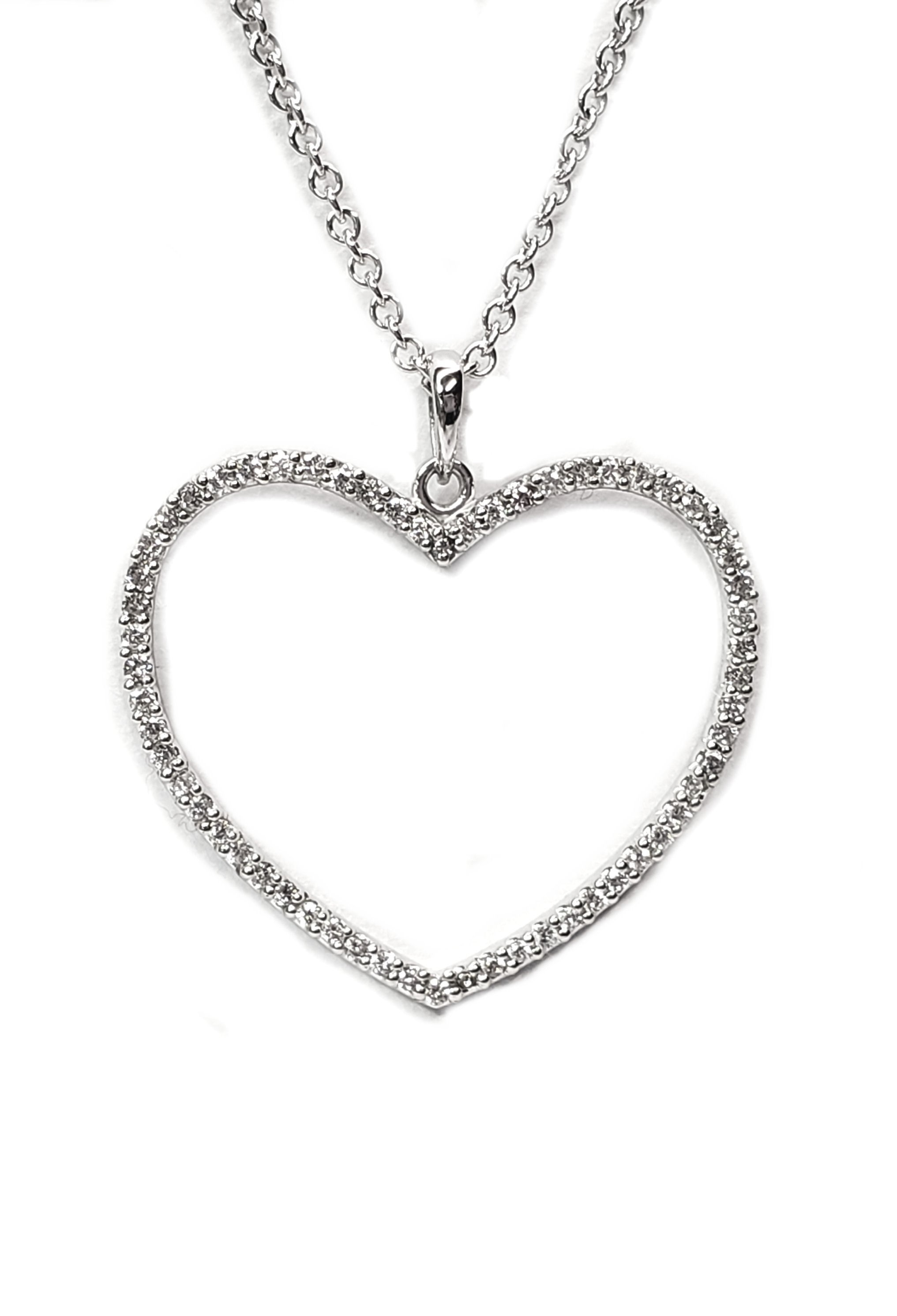 "Diamond Heart Pendant Open Center 1/2ct.t.w. Over 1"" High in 14kt. White Gold"