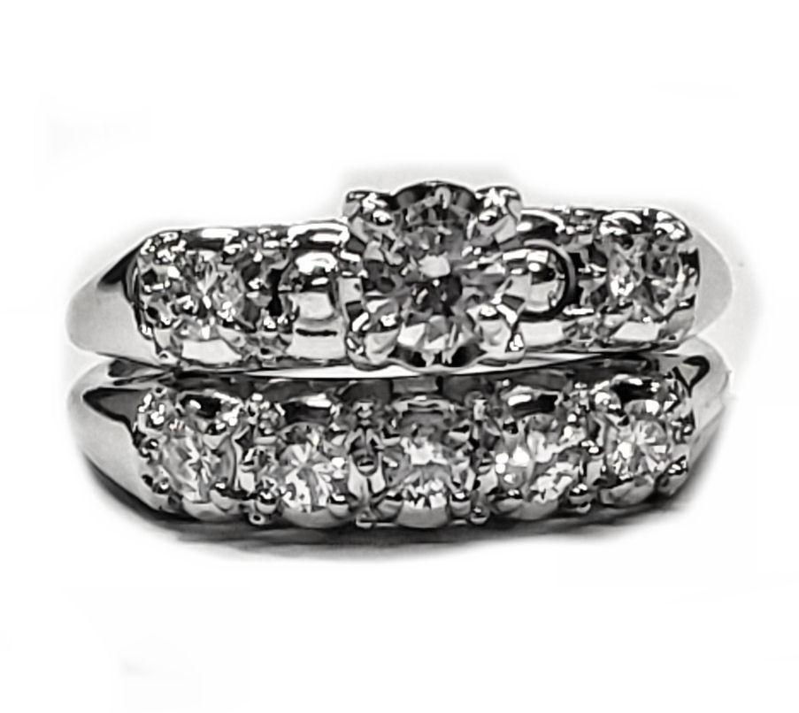 Antique Look  92pt. Diamond Wedding Set in 14kt. White Gold