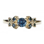 Diamond Butterfly Engagement Ring w/Blue Diamonds in 14kt. Gold