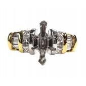 Platinum/18kt gold multishaped diamond engagement ring 55pts.
