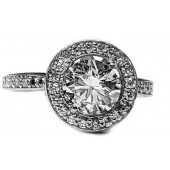 Diamond Halo Engagement Ring, 1.44cts. G Color in 14kt