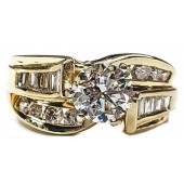 1.75ct. Diamond Engagement Ring, Baguette/Round Diamonds  in 14kt. Gold