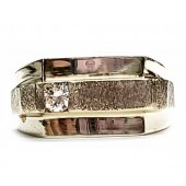 Man's Diamond Single Stone Ring, 3 Row Look, 14kt Gold