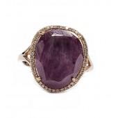 "Ruby & Diamond Handmade Ring, ""Sliced"" Ruby Gemstone in 14kt Pink Gold"