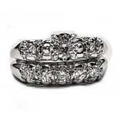 Antique Look  92pt. Diamond Wedding Set in 14kt. White Gold
