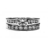 Diamond Wedding Set, 89pts. t.w.  Princess Cut Center